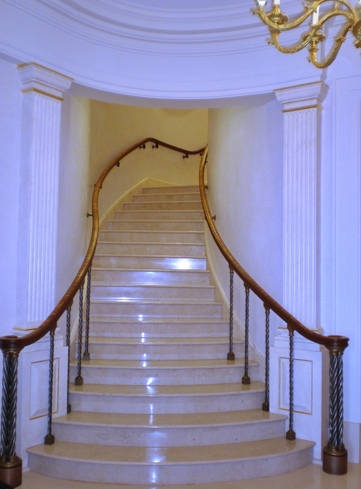 Marble Grand Stairs for Dallas office building. Kemna Tile.